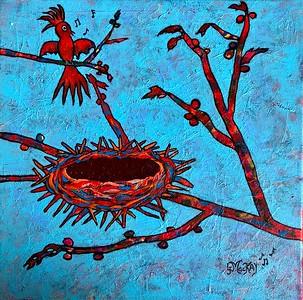 """""""Bird"""" Acrylic, 12""""x12"""", 2018"""