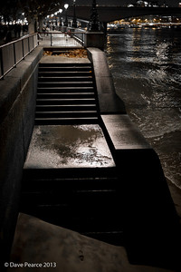 Wet steps to the Thames.