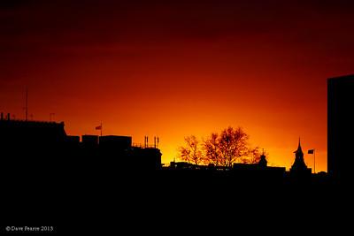 Burning skies over west London.