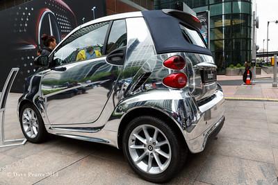 Silver smart car