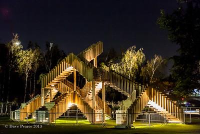 Stairs at night.