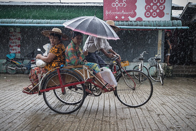 Burmese Cyclo in the Rain, Myanmar