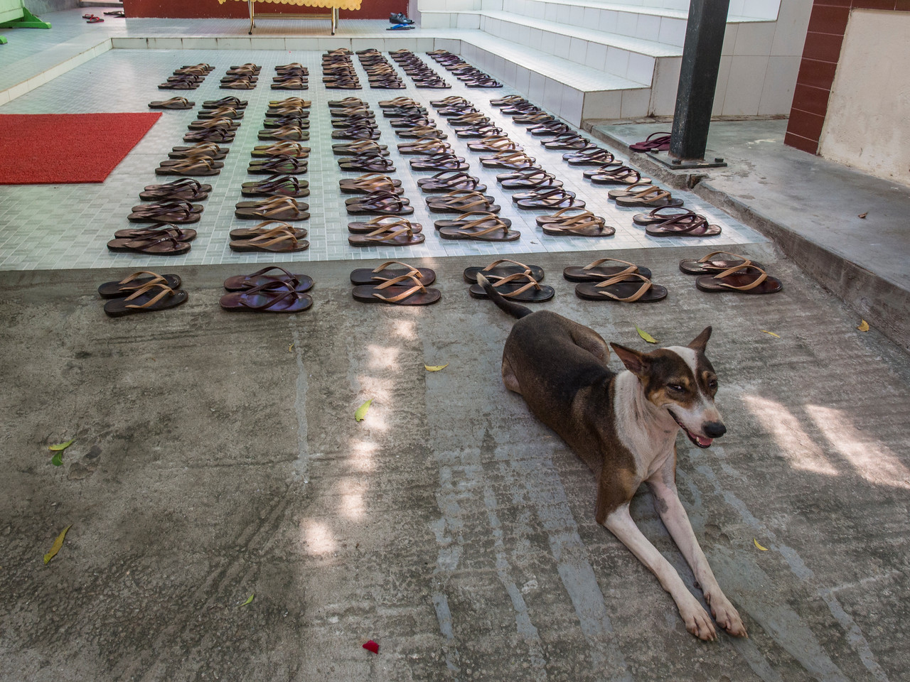 Flip flops outside ThaKyaDiThar Nunnery while they ate lunch