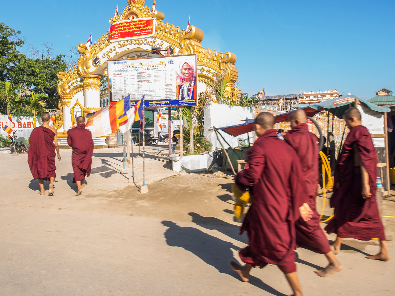 Buddhist monks heading to event