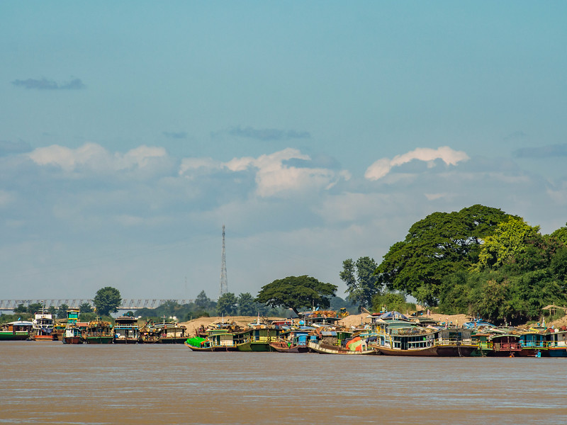 Boats moored on the banks of the Chindwin River