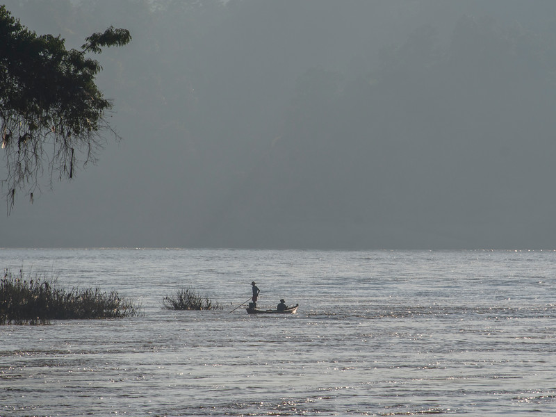 Morning mist on the Chindwin River, Myanmar