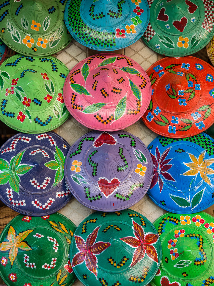 Colorful hats at store in Paung Pyin village