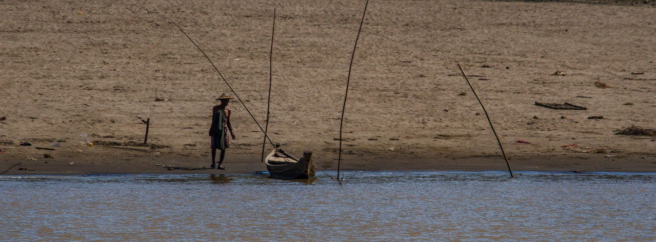 Man with boat on the Chindwin River