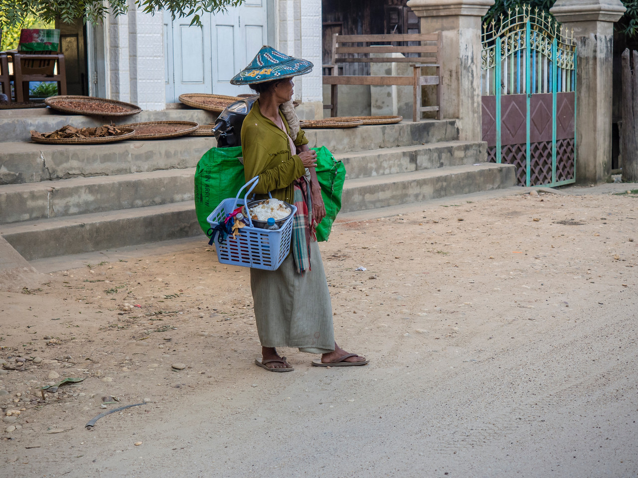 Woman with groceries, Paung Pyin village