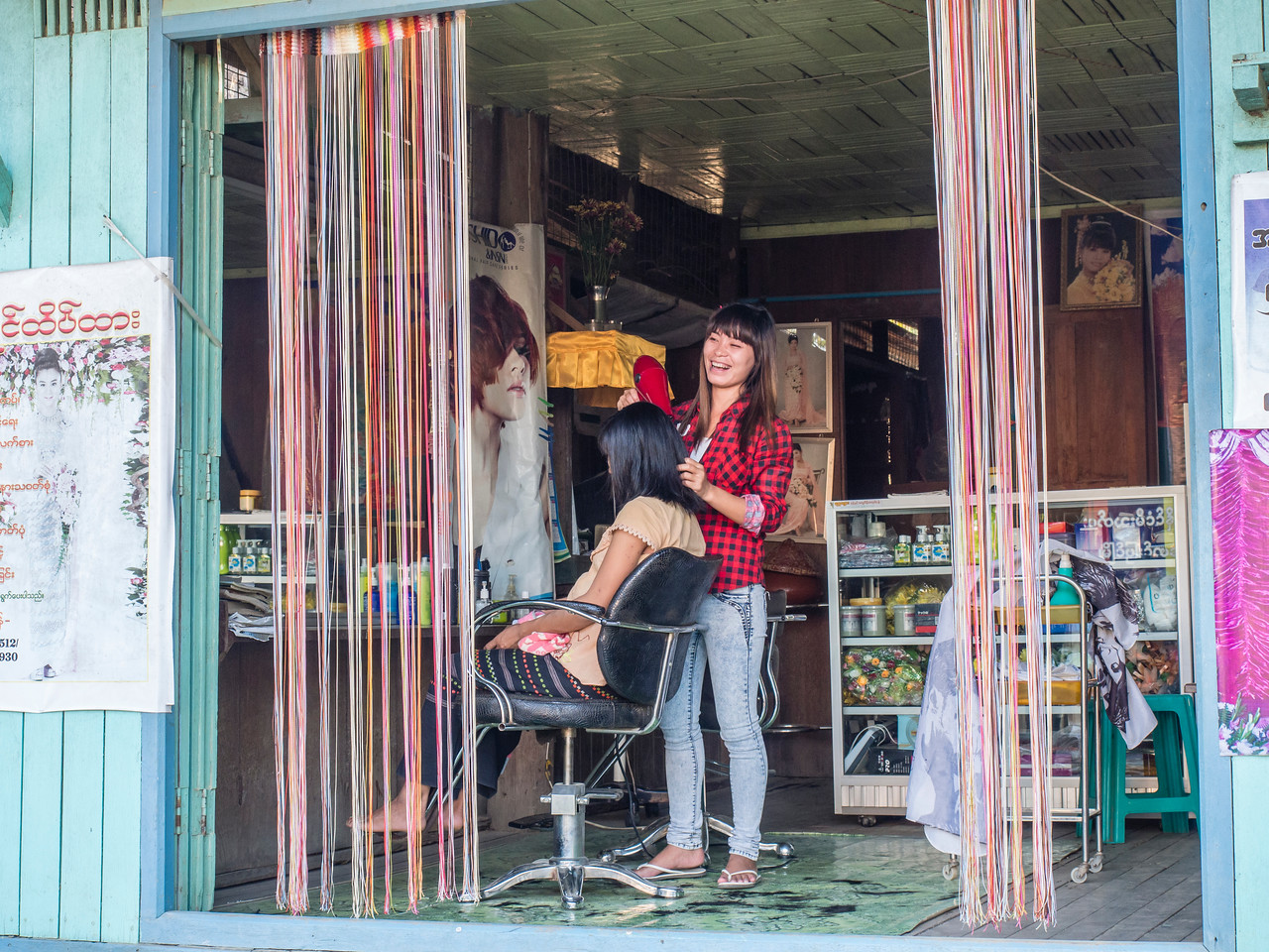 Beauty salon, Paung Pyin village