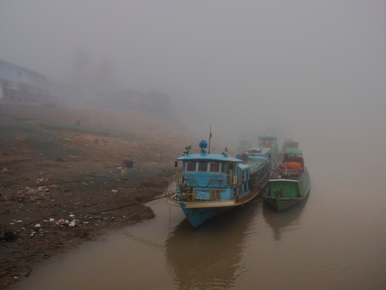 Morning mist on the Chindwin River at Pyaung Pin