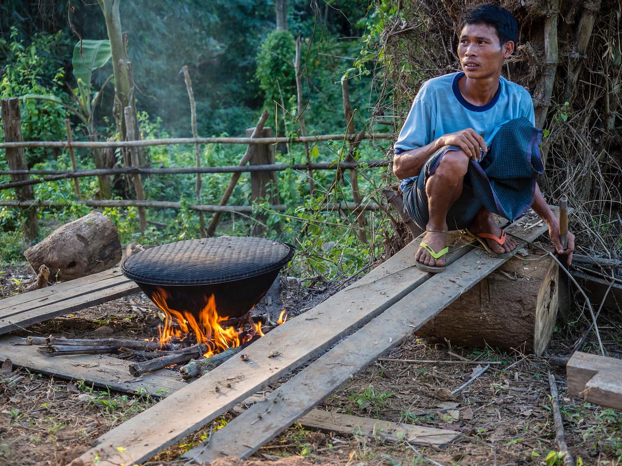 Boiling and shredding bamboo shoots, Shan village