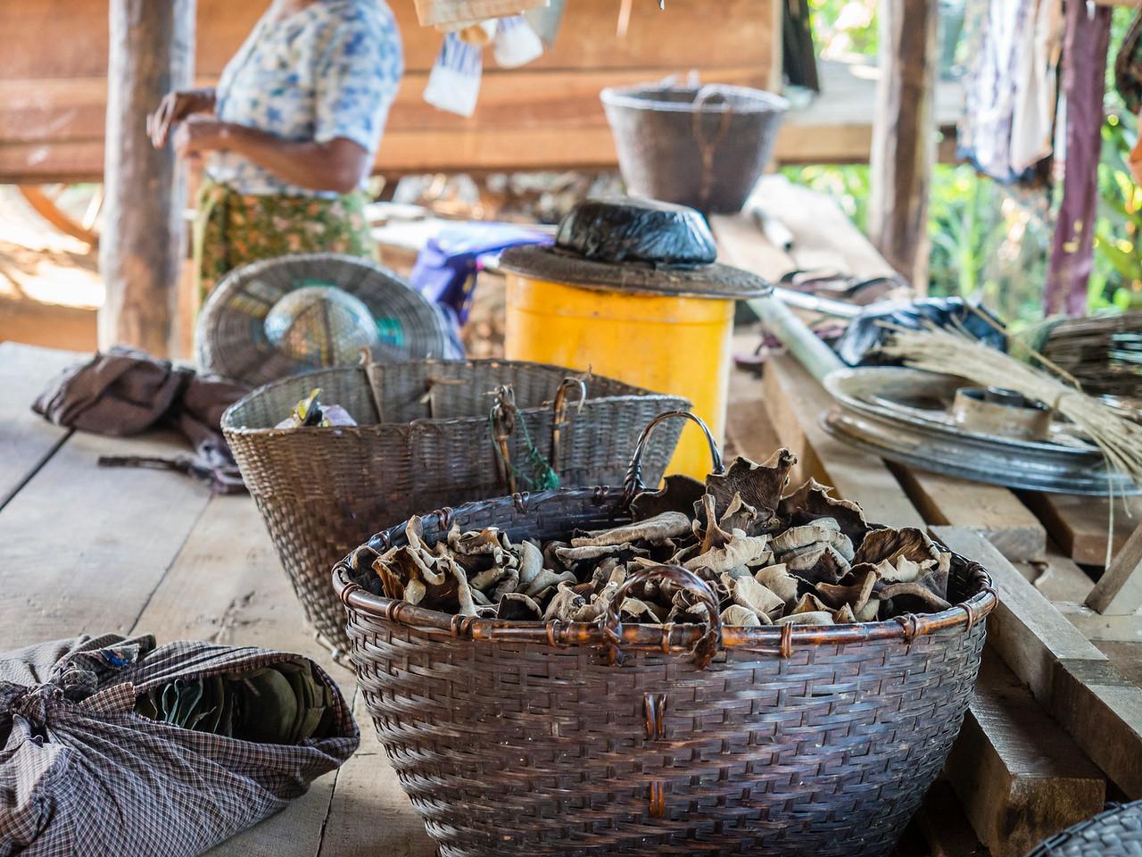 dried mushrooms, Shan village