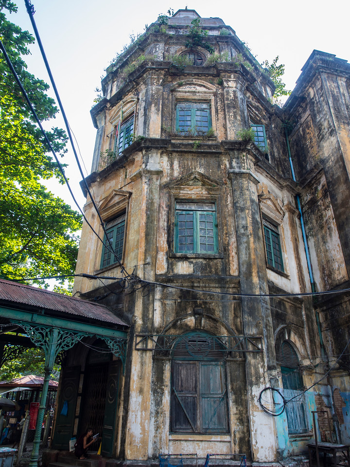 Old colonial building tower, Yangon