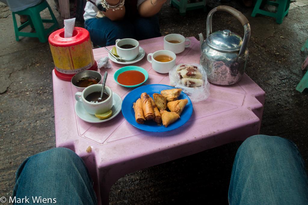 Tea and snacks in Myanmar