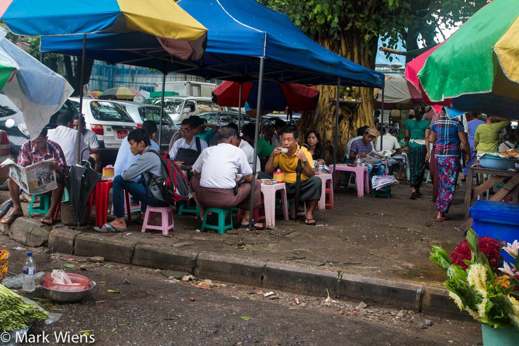 Drinking tea in Yangon