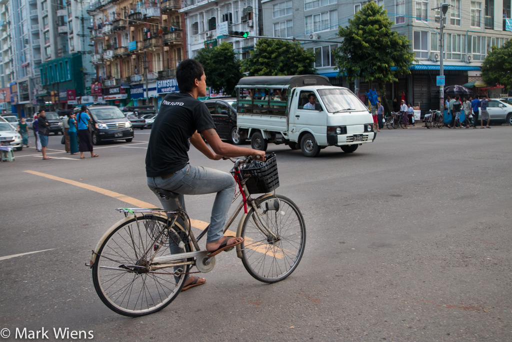 Biking through Yangon