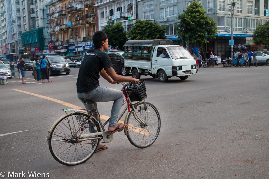 Biking through Yangon