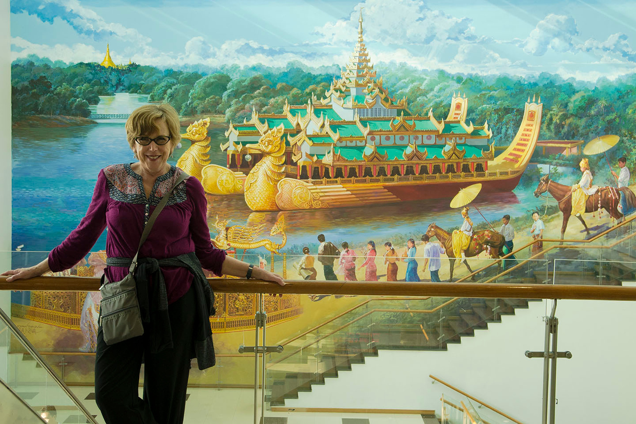 Heading Home:  Judy at Yangon Airport