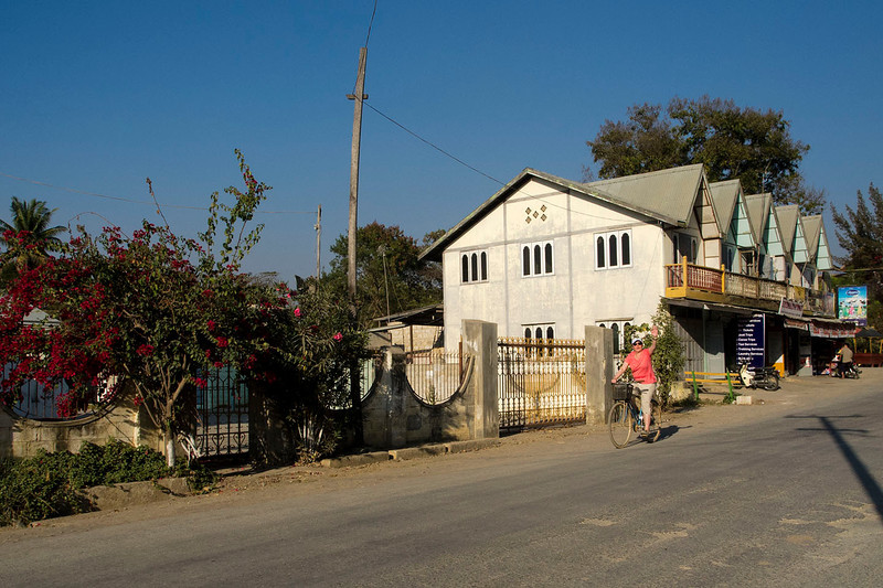 Jen biking in Nyaungshwe.