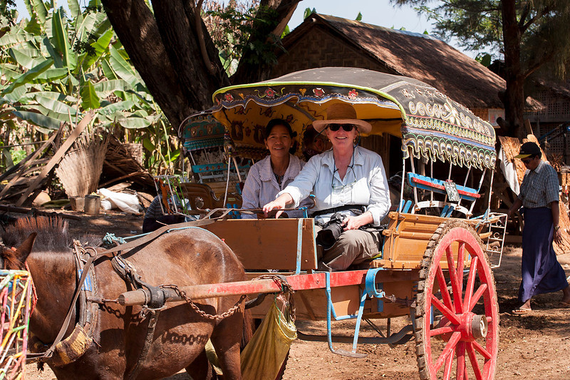 Melissa aboard a pony cart to Inwa