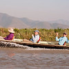 Melissa, Shep, Karl and MM cruising along the floating islands of Inle Lake.