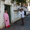 Judy photographs a nun in Sagaing.