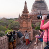 Jennifer photographing the pagodas of Bagan from atop (what else?) a pagoda.