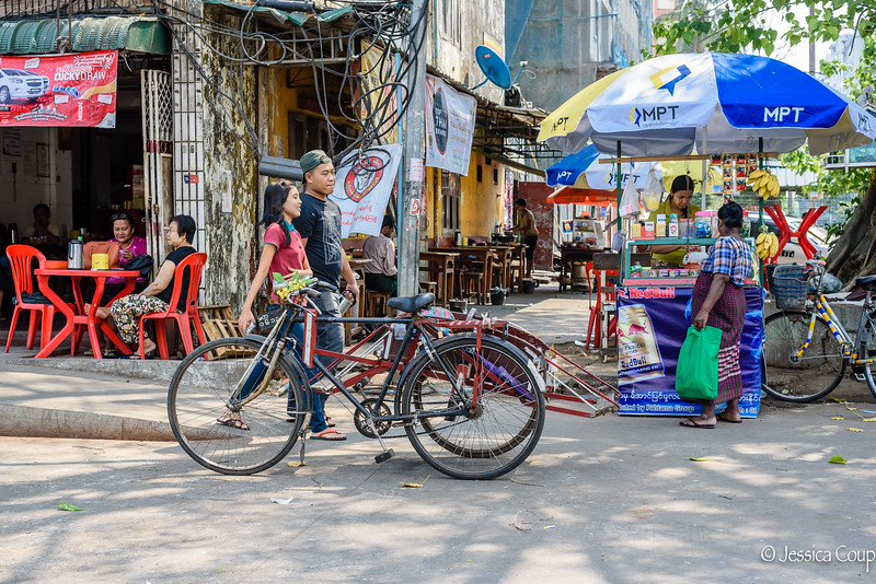 Typical Street Scene of Yangon
