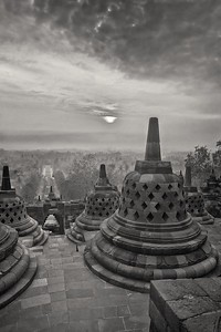 Stupas at Borobudur.