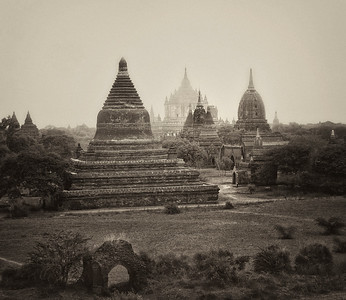 Temples in Fog. Bagan.