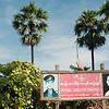 Signs for the official opposition party, the National League for Democracy usually feature photos of their leader Aung San Suu Kyi and her father General Aung San