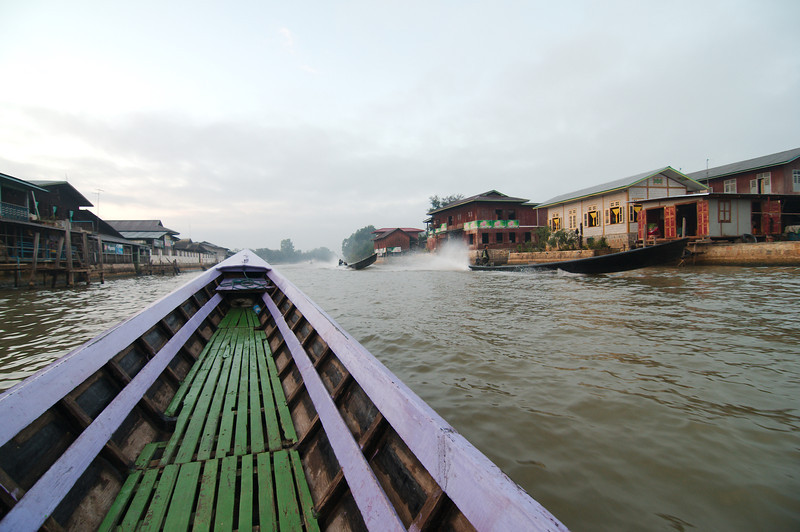 Leaving the Nyaung Shwe pier for our tour of Inle Lake, a long canal connects the town of Nyaung Shwe to the lake