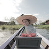 Showing off our Myanmar sun hats