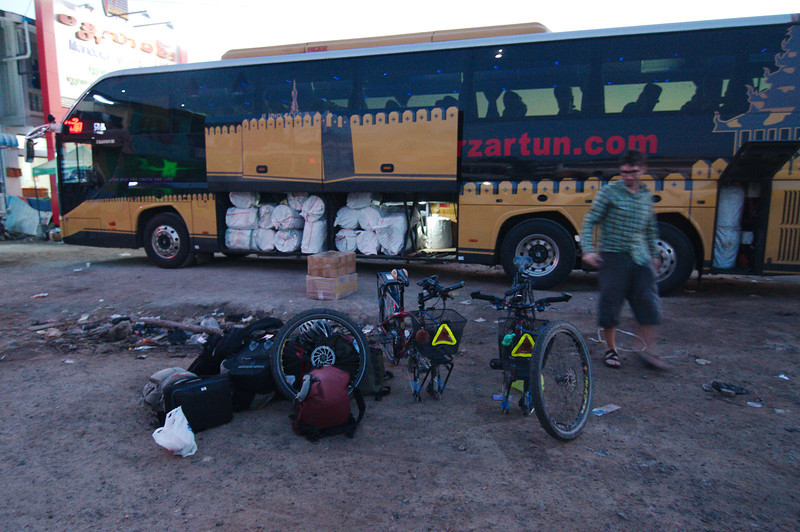 5:00am arrival in Mandalay, getting ready to start riding