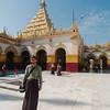 Yann wearing a traditional longyi at the Mahamuni Buddha Temple