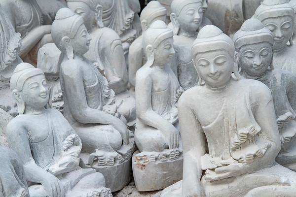 myanmar, mandalay, chanmyathazi township, art, statues, stone buddhas