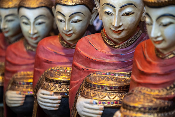 myanmar, mandalay, chanmyathazi township, art, statues, wood buddhas