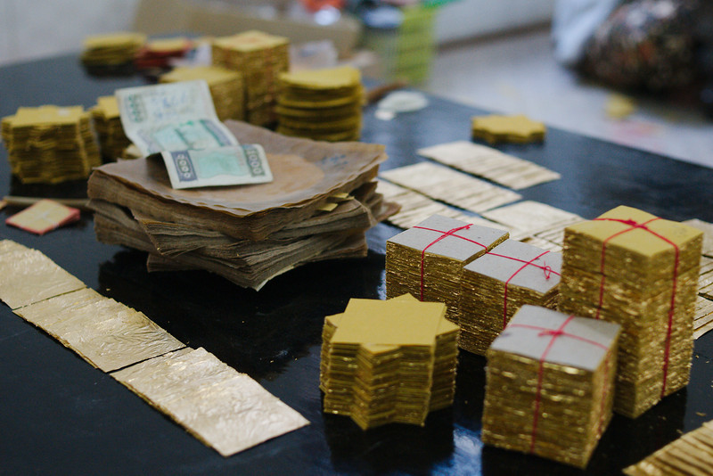 The finished product: packs of gold leaf, ready to be shipped to temples around Myanmar
