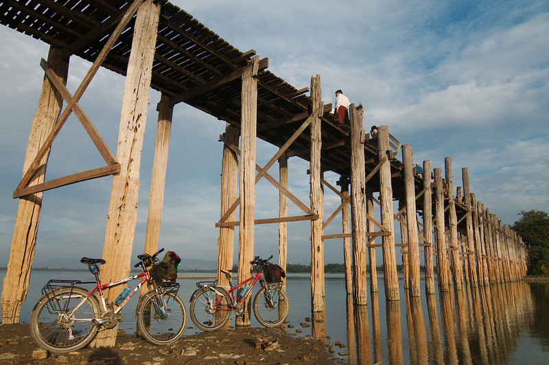 Our bicycles under U-Bein Bridge