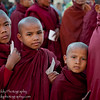 Young Buddhist monks lined up in a procession to accept offerings during the annual Anada Pagoda Festival in Old Bagan, Myanmar