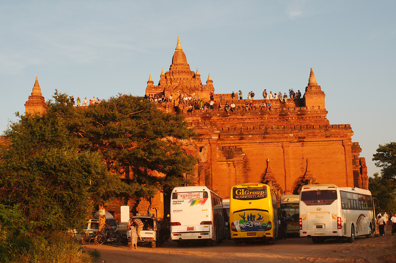 "At Pyathada Paya on our first evening in Bagan, a bit of a shock as this was supposed to be the ""less busy"" sunset viewing spot"