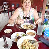 Our first meal in Myanmar, mohinga (a noodle broth) and something with rice and chicken (the menu was in Burmese, so we were guessing)