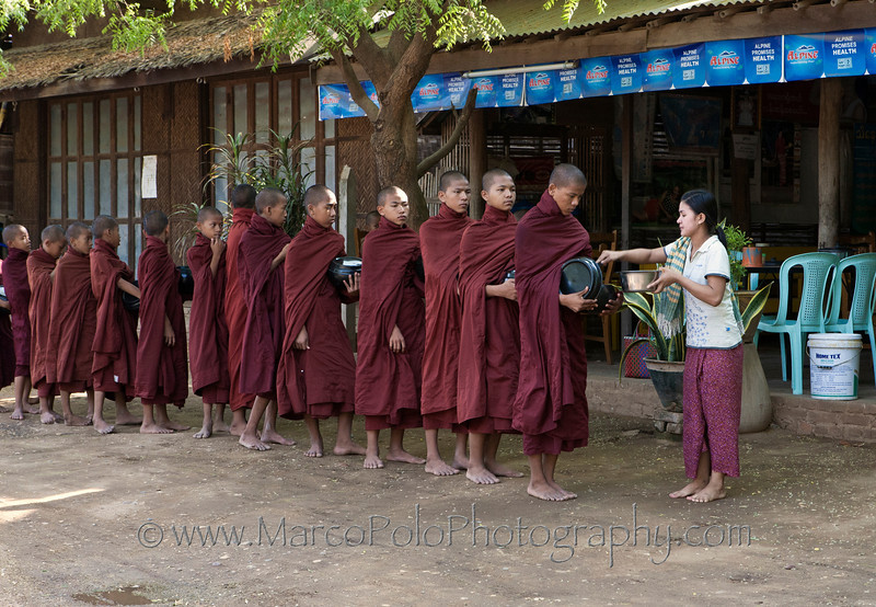 """Young Monks Receiving Alms in the Morning. Bagan 15"""" x 10"""""""