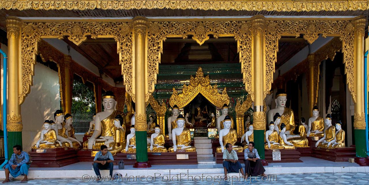"The Land of the Buddhas. Shwedagon Pagoda. Yangon. 15"" x 8""."