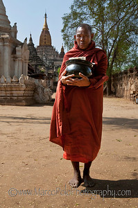 "Monk in front of the Ananda Temple in Bagan. 15"" x 23"""