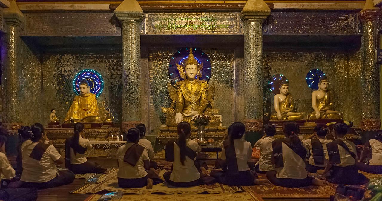 Group Meditation. Shwedagon Pagoda. Yangon
