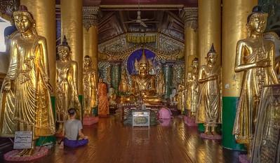 Mahamuni Buddha at Shwedagon. Yangon