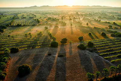 Sunrise from balloon in Bagan