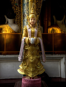 "Nattami - Female Guardian Spirit at the Shwedagon Pagoda. Yangon. 16"" x 21""."